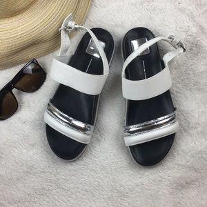 Dolce Vita Strap White and Silver Sandals